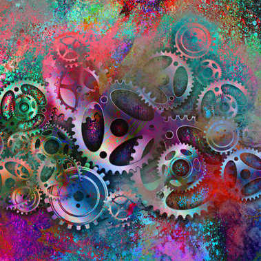 Colorful mechanical gears on abstracted background