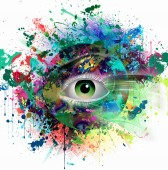 Fotografie hand-drawn abstract magic colorful eye on abstract background