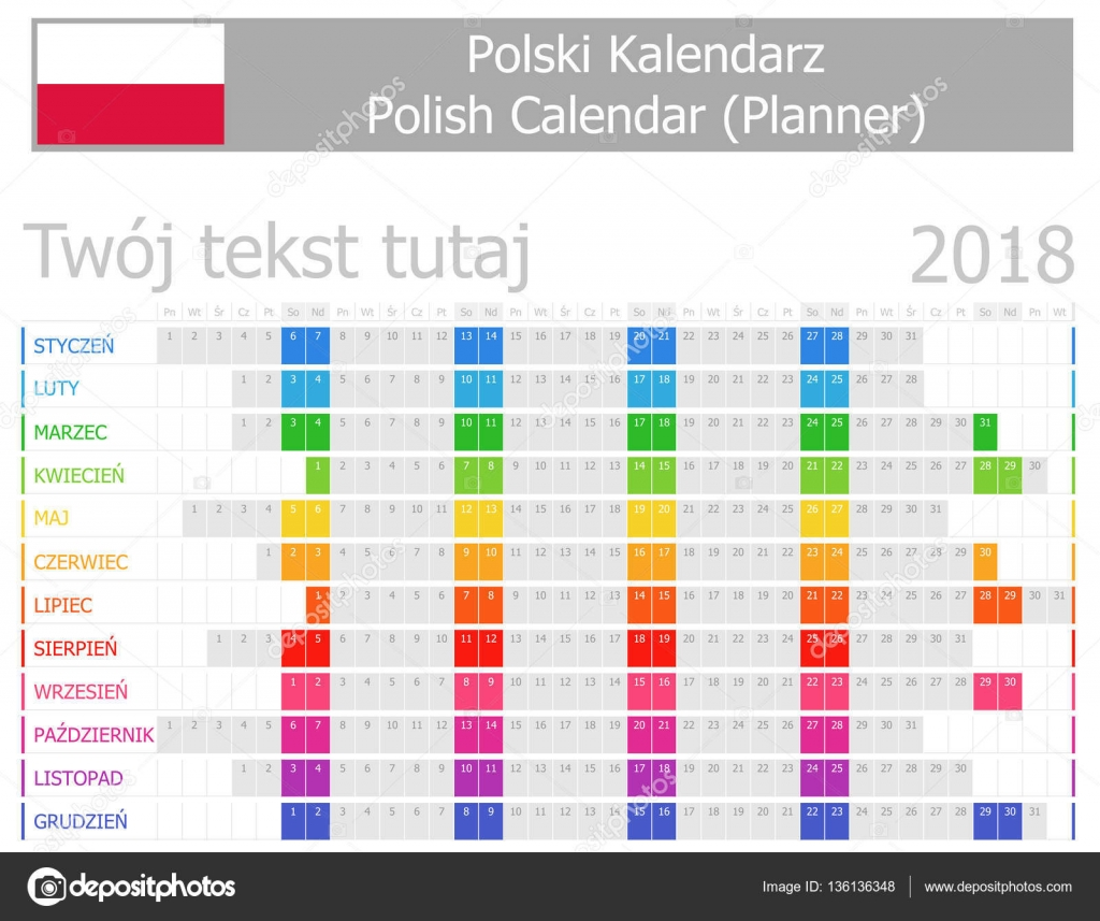 2018 Polnisch Planer Kalender mit horizontalen Monate — Stockvektor ...