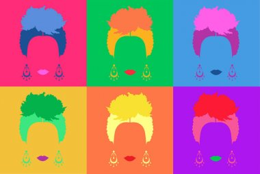 Pop art Mexican or Spanish woman background Colored Vector Illustration Pop Art Style
