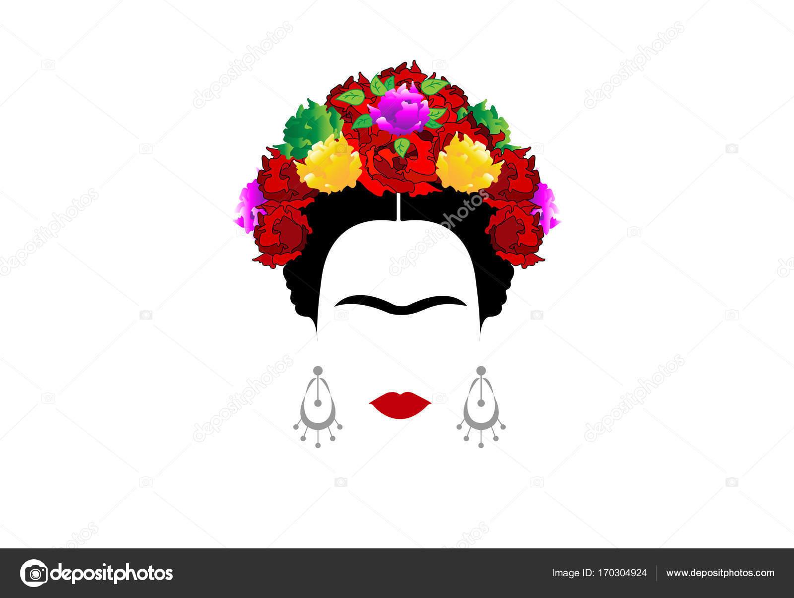 Dibujo Para Colorear De Frida Kahlo: Frida Kahlo, Retrato De Mujer Mexicana O Española Con