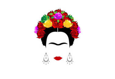 Frida Kahlo , portrait of Mexican or Spanish woman with crown of colorful flowers, Mexican tradition, vector isolated