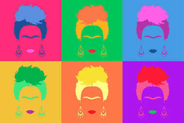 Frida Kahlo background Colored Vector Illustration Pop Art Style Andy Warhol