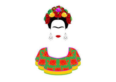 Frida Kahlo vector portrait , young beautiful mexican woman with a traditional hairstyle. Mexican crafts earrings and red flowers, Traditional Mexican dress, Vector isolated
