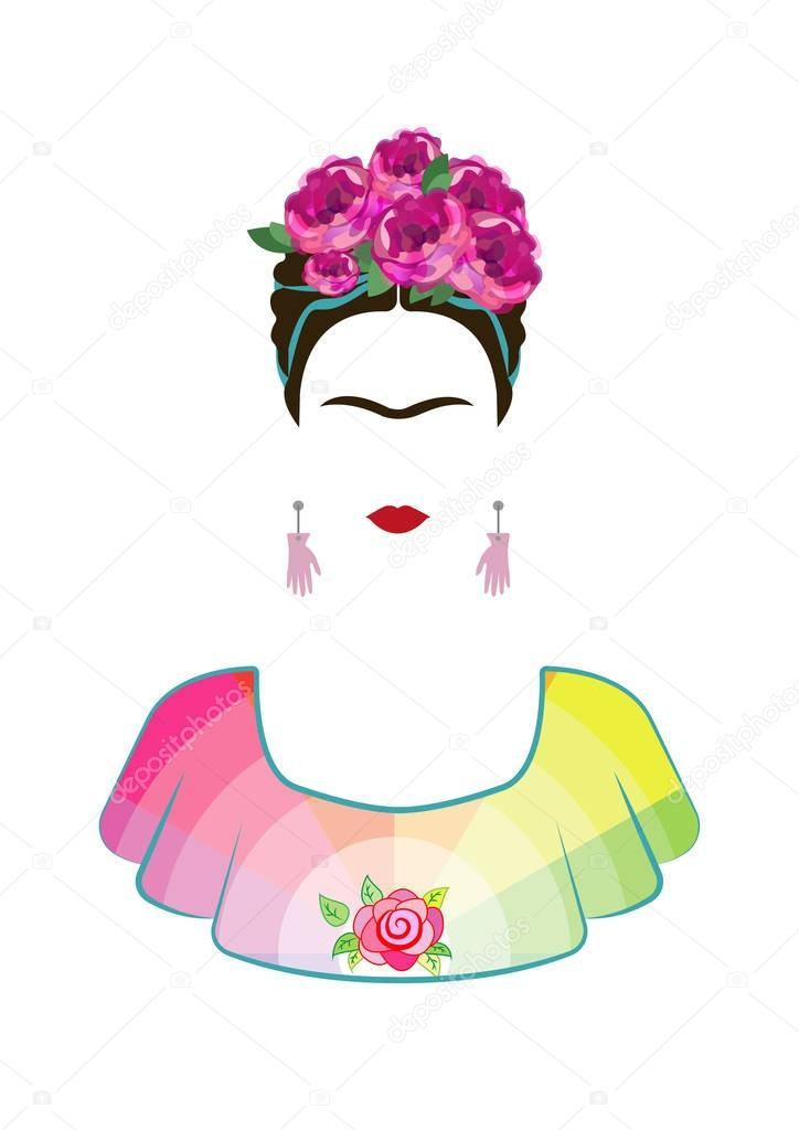 Frida Kahlo vector portrait , beautiful mexican woman with a traditional hairstyle. Mexican crafts earrings with hands and  crown of flowers, Vector isolated