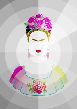 Frida Kahlo vector portrait , beautiful mexican woman with a traditional hairstyle. Mexican crafts earrings with hands and  crown of flowers, Vector graphic