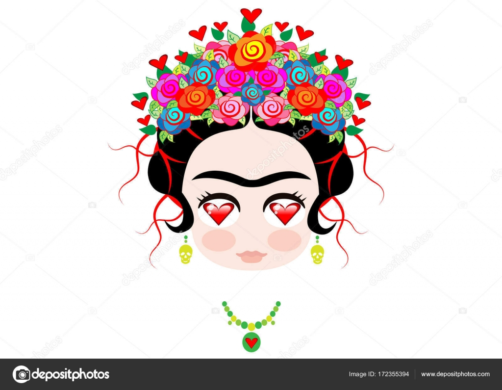 Emoji baby frida kahlo love with crown and of colorful flowers emoji baby frida kahlo love with crown and of colorful flowers vector isolated stock biocorpaavc Gallery
