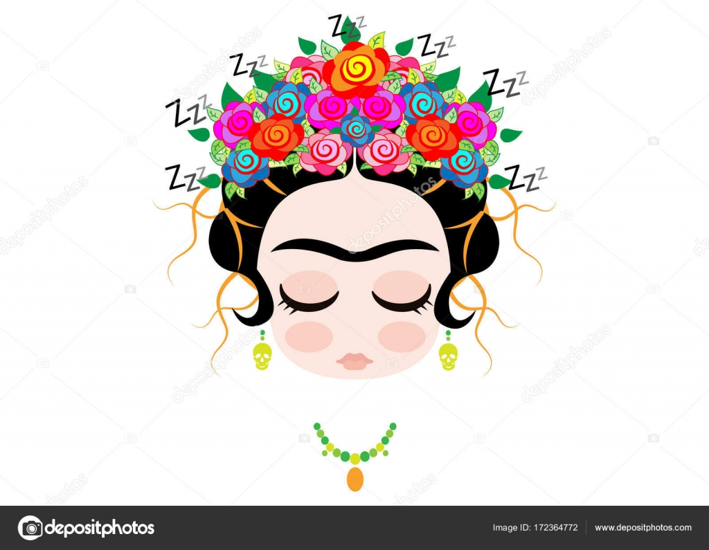 Frida Kahlo Cartoon, Emoji Baby Frida Sleeping Portrait