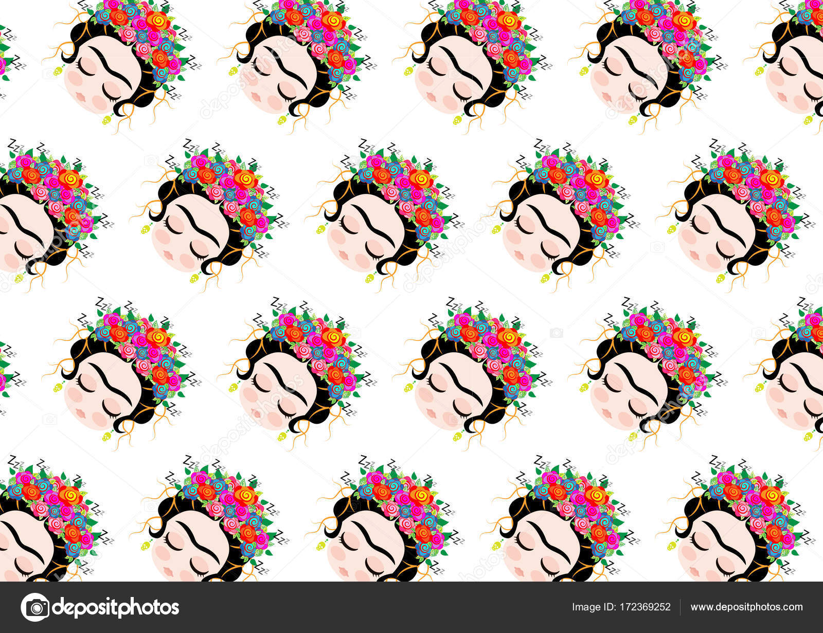 Frida Kahlo Green Wallpaper Frida Kahlo Pattern Cartoon