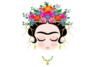 frida kahlo cartoon, Emoji baby Frida sleeping portrait with crown of colorful flowers, vector isolated