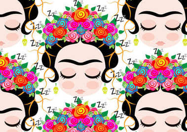 Frida Kahlo pattern cartoon vector , transparent background