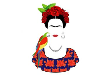 Frida Kahlo and parrot, vector portrait isolated