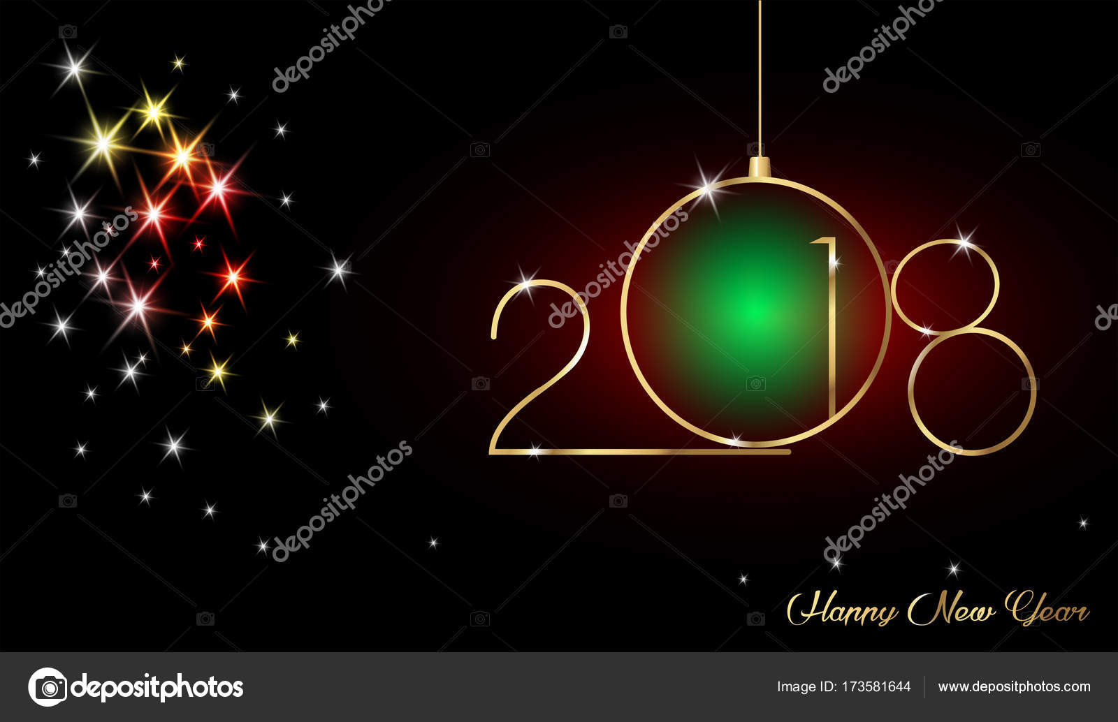 2018 happy new year with gold texture modern background vector isolated or brilliant black