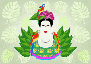 Frida Kahlo graphic interpretation with parrots, vector isolated or exotic floral  green background