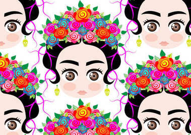 Emoji baby Mexican woman with crown of colorful flowers, typical Mexican hairstyle, Background cartoon vector portrait