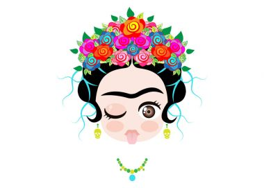 Emoji baby Frida Kahlo to the tongue out  with crown and of colorful flowers, vector isolated