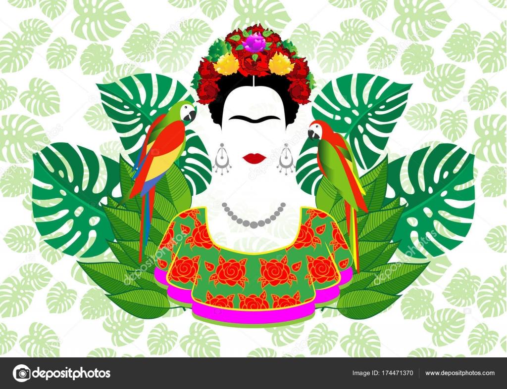 Frida Kahlo Vector Portrait, Graphic Interpretation With