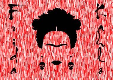 Frida Kahlo vector portrait, red background