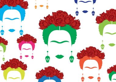 Frida Kahlo vector portrait, background multicolor Mexican or Spanish woman with earrings skulls