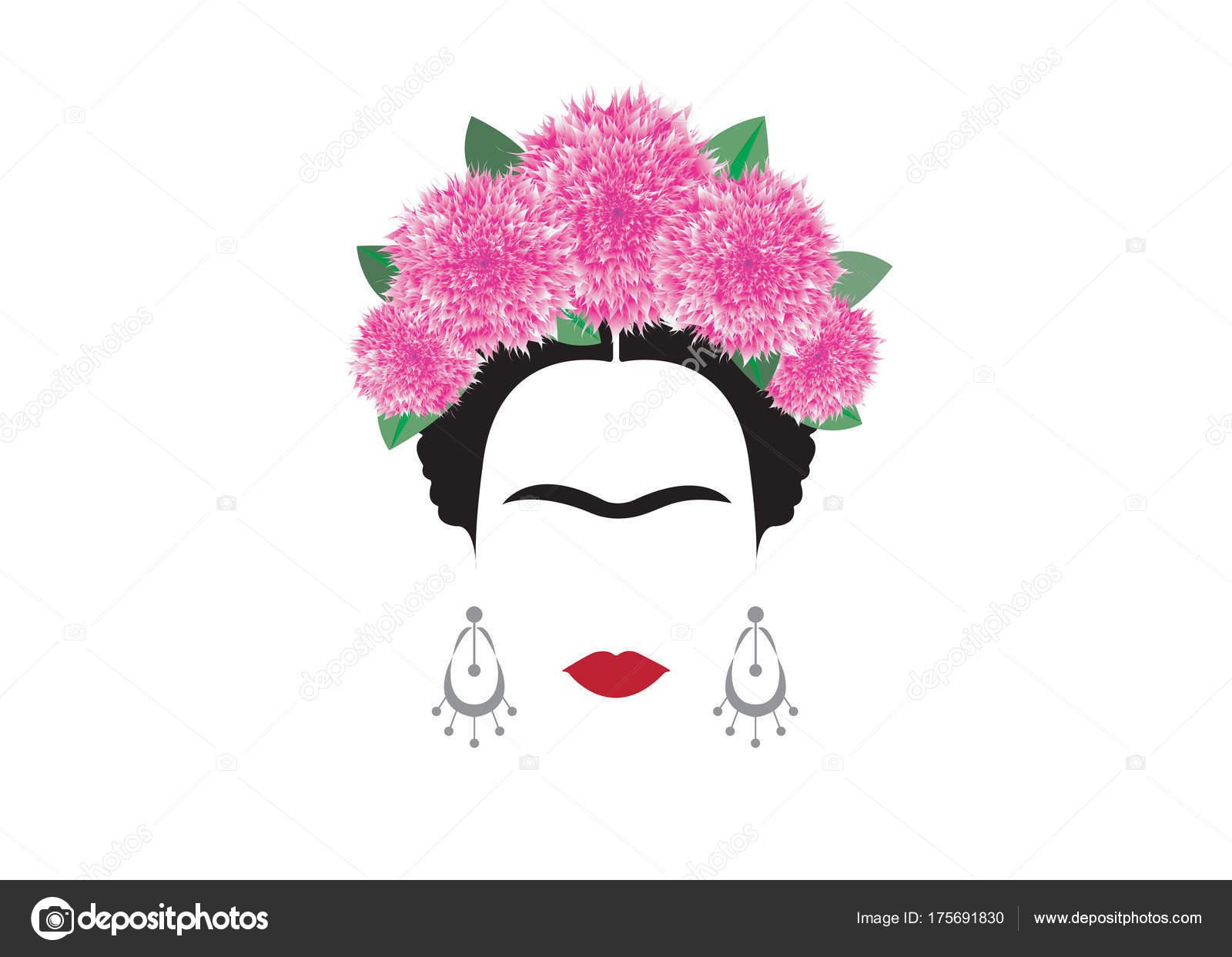 Imagenes De Frida Kahlo Para Imprimir: Retrato De Vetor De Frida Kahlo