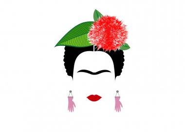 Frida Kahlo vector portrait isolated