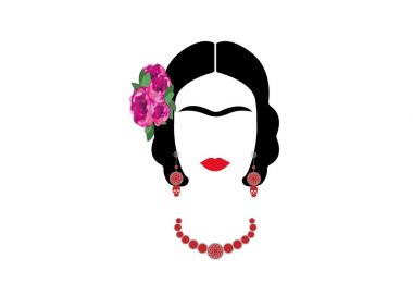 Frida Kahlo vector portrait, graphic interpretation with Mexican ethnic jewelry , isolated or white background