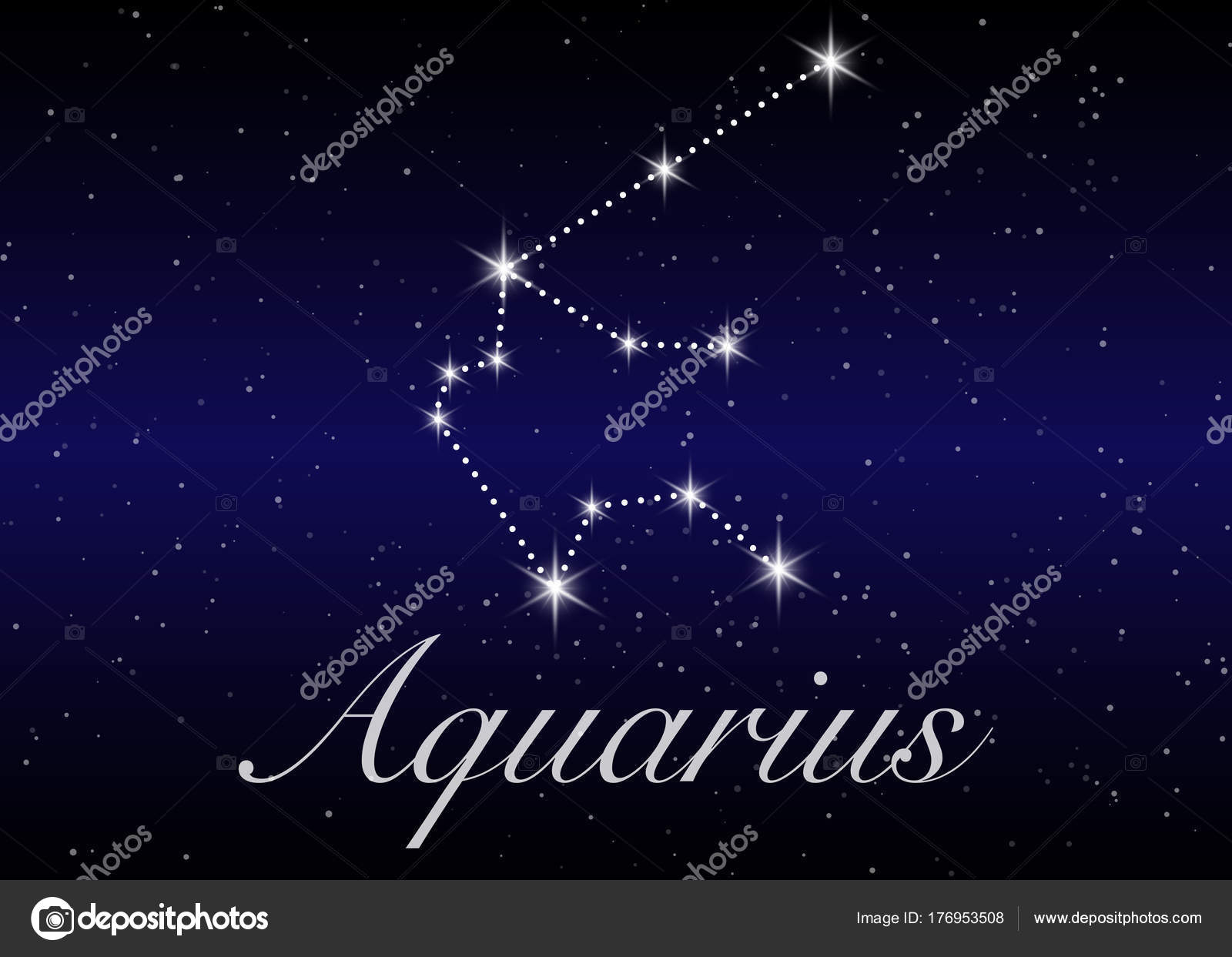 Aquarius Zodiac Constellations Sign On Beautiful Starry Sky With