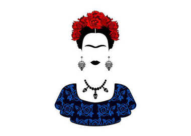 Frida Kahlo vector portrait , young beautiful mexican woman with a traditional hairstyle. Mexican crafts jewelry and red flowers, Traditional Mexican dress, Vector isolated