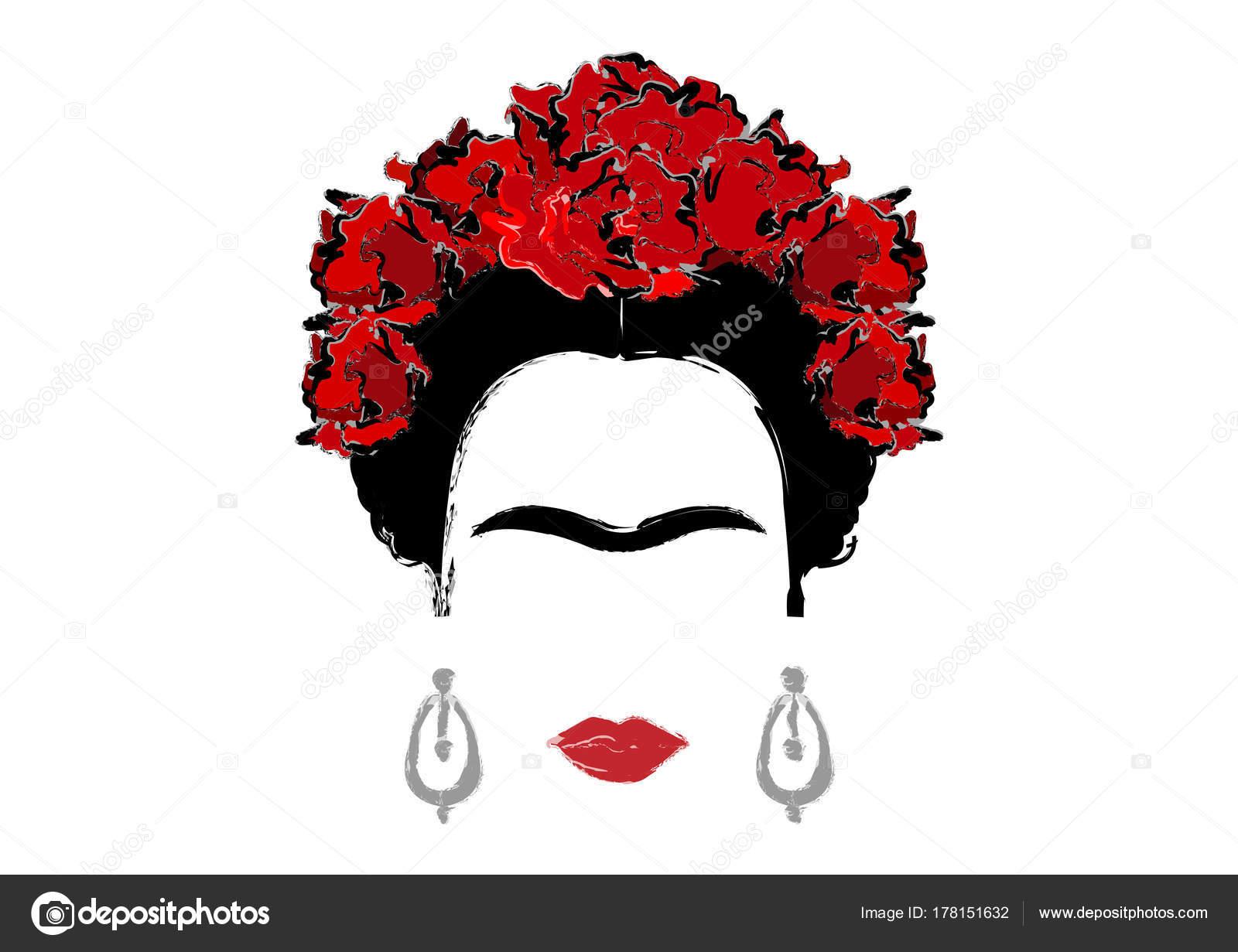 Frida Kahlo Para Dibujar: Portrait Of Frida Kahlo, Vector Illustration Isolated