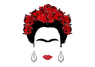 portrait of Frida Kahlo, vector illustration isolated, portrait of modern Mexican or Spanish woman, drawing style
