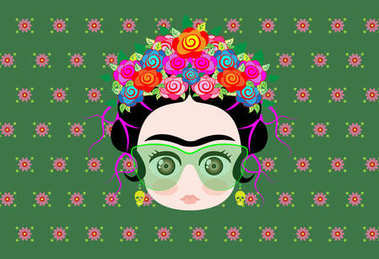 Emoji baby Frida Kahlo with crown of colorful flowers and glasses , vector isolated or green flowers background
