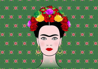Frida Kahlo vector portrait , young beautiful mexican woman with a traditional hairstyle,  Mexican crafts jewelry, vector isolated or green floral background