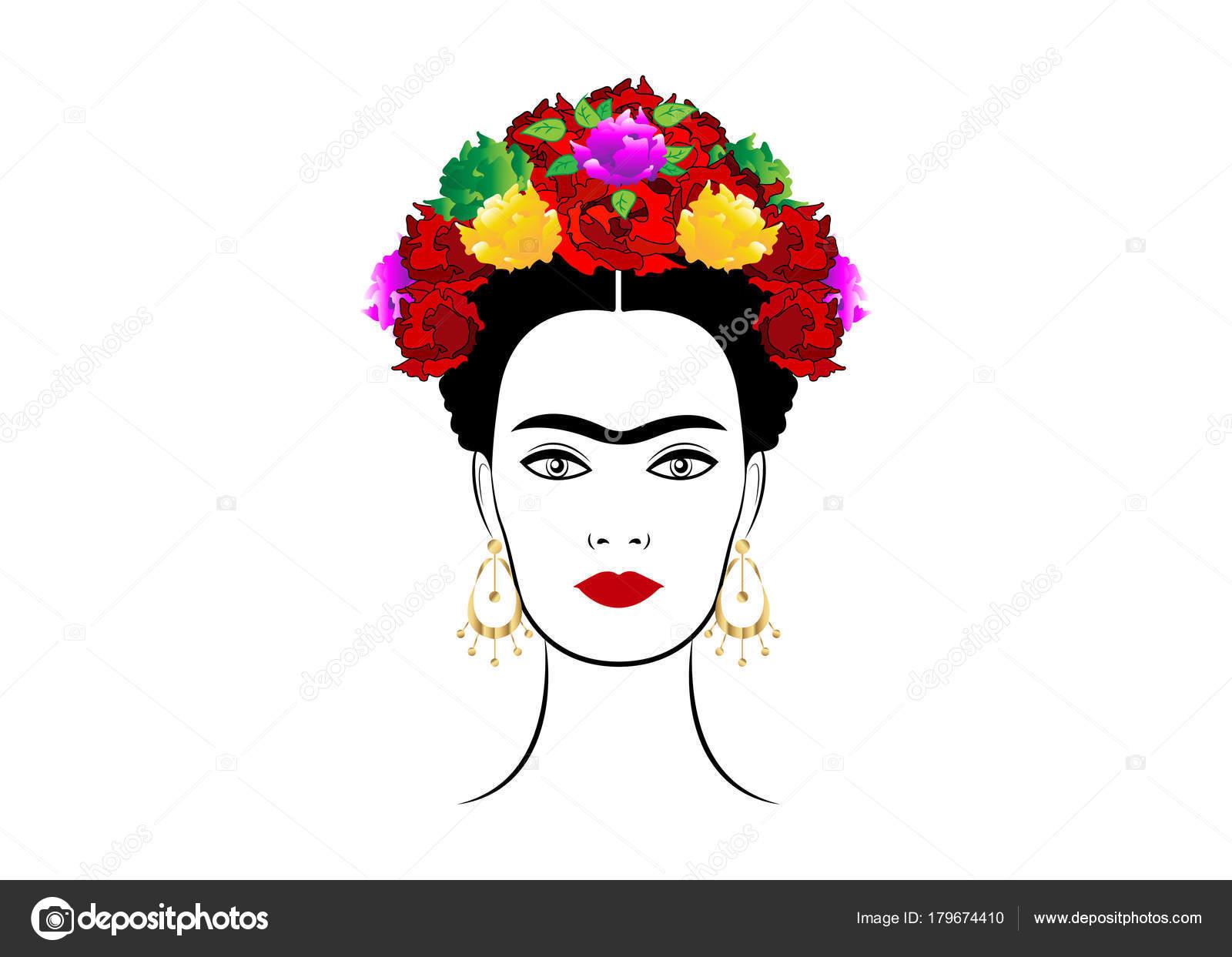 Imagenes De Frida Kahlo Animada Para Colorear: Portrait De Vecteur De Frida Kahlo, Belle Jeune Femme
