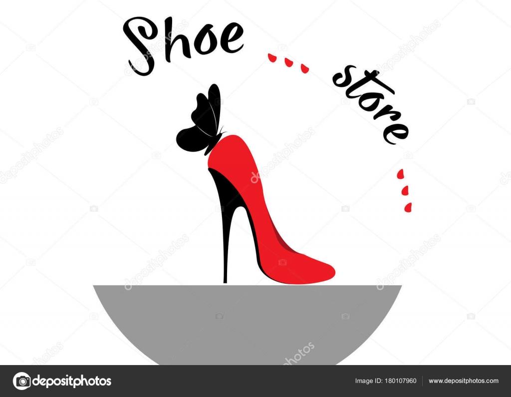 1544007b Tienda logo shop, colección de moda, etiqueta de boutique. Diseño de  logotipo de empresa. Zapatos de tacón rojo con mariposa, vector de fondo  blanco o ...