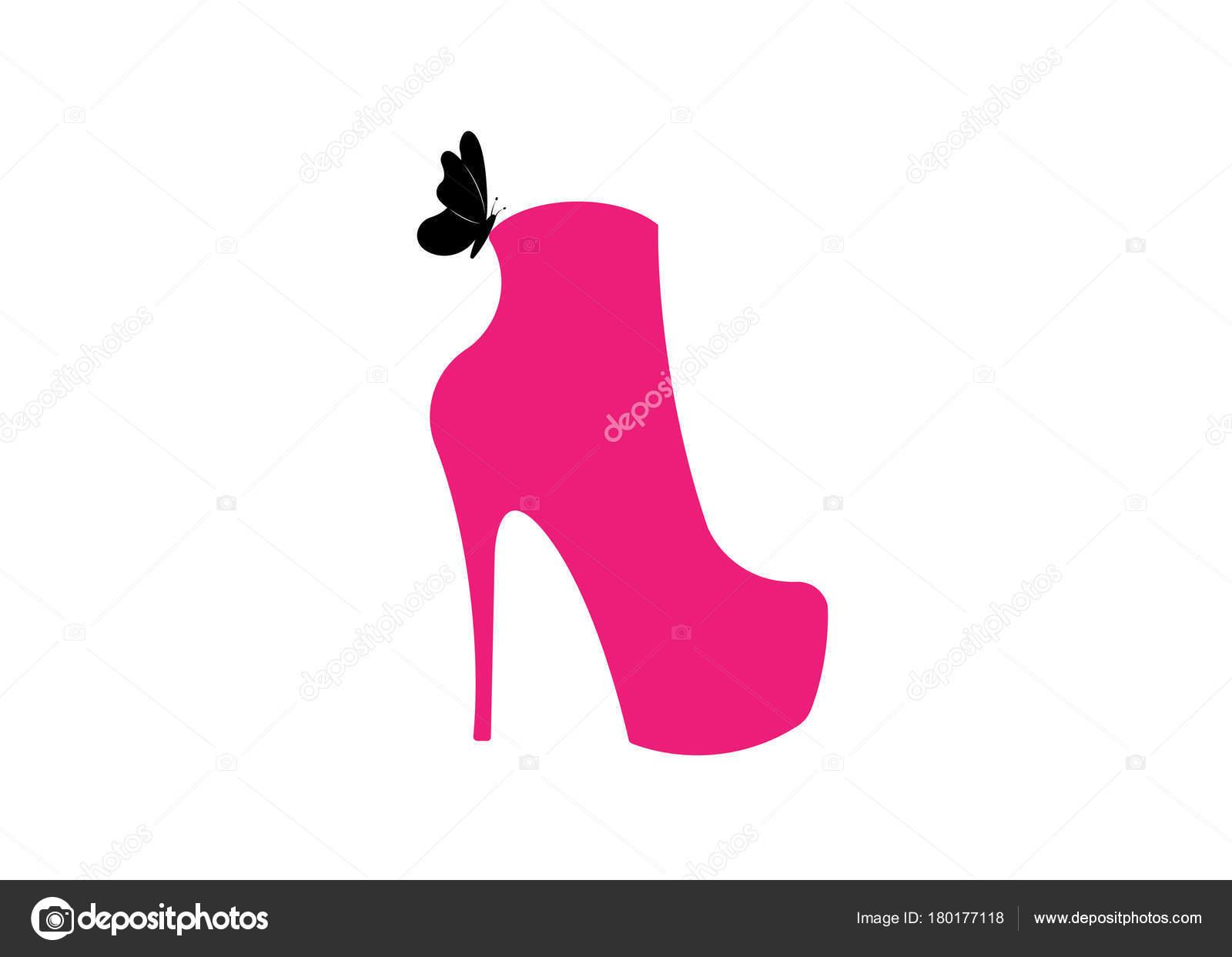 d0b34bbd Mujer Rosa botas de tacones, vista lateral, tienda insignia, tienda,  colección de moda, etiqueta de boutique. Diseño de logotipo de empresa.  Zapatos con ...