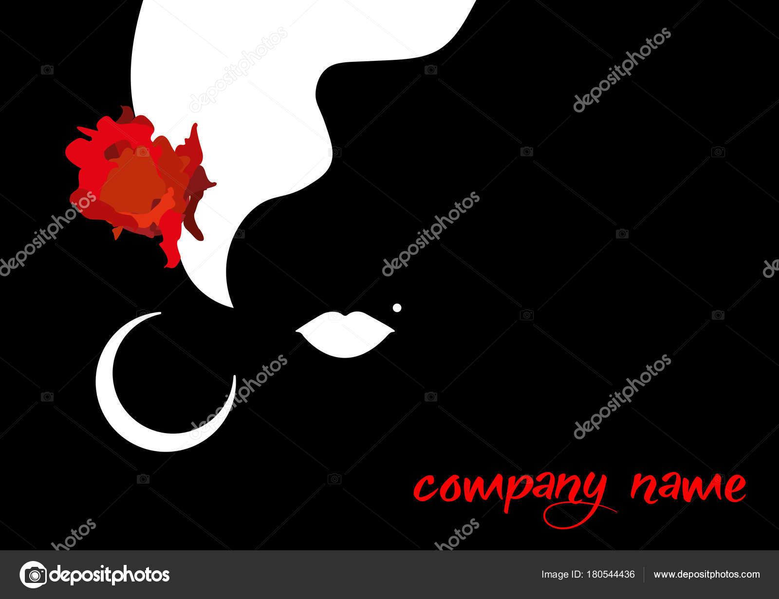 Beautiful woman silhouette whit red rose beauty logo template beautiful woman silhouette whit red rose beauty logo template vector company name on black buycottarizona
