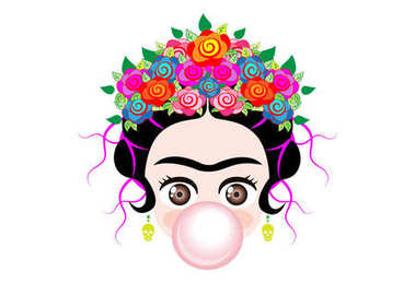 Emoji baby Frida Kahlo  with crown and of colorful flowers, baby girl  with gum bubble, vector isolated