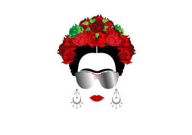 Frida Kahlo vector portrait with sun glasses, isolated or white background