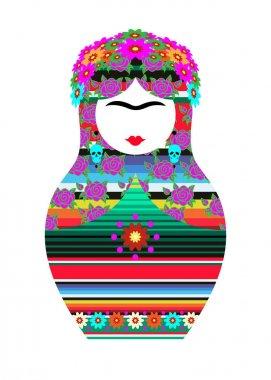 Frida Kahlo Matrioska Style, vector isolated