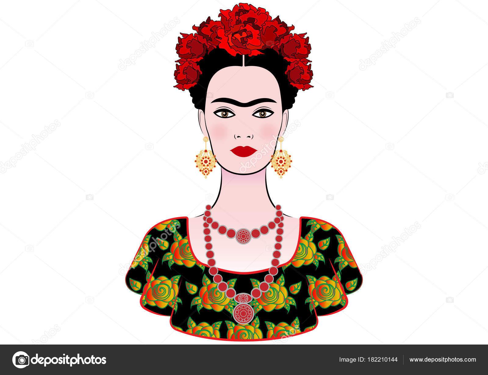 Frida Kahlo Para Dibujar: Retrato De Vetor De Frida Kahlo, Interpretação Gráfica