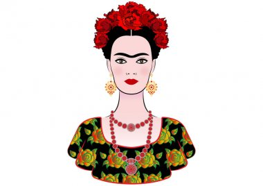 Frida Kahlo vector portrait, graphic interpretation, with Mexican ethnic jewellery