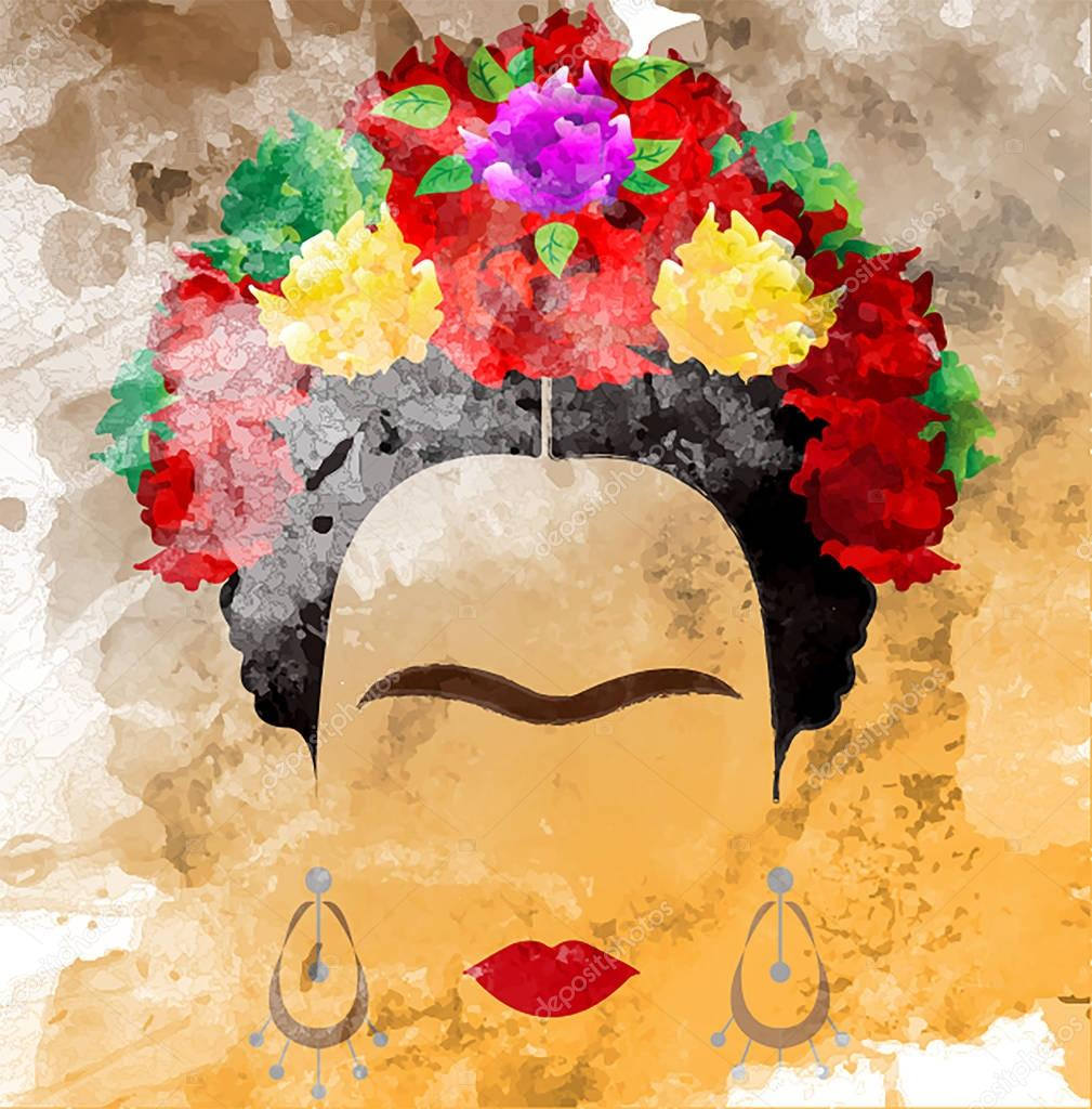 Frida Kahlo vector portrait, watercolor style , hand drawing on the wall