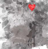 Fotografie Romantische Silhouette der liebende Paar. Valentinstag 14 Februar. Glücklich-Liebhaber. Vektor-Illustration, Aquarell-Stil