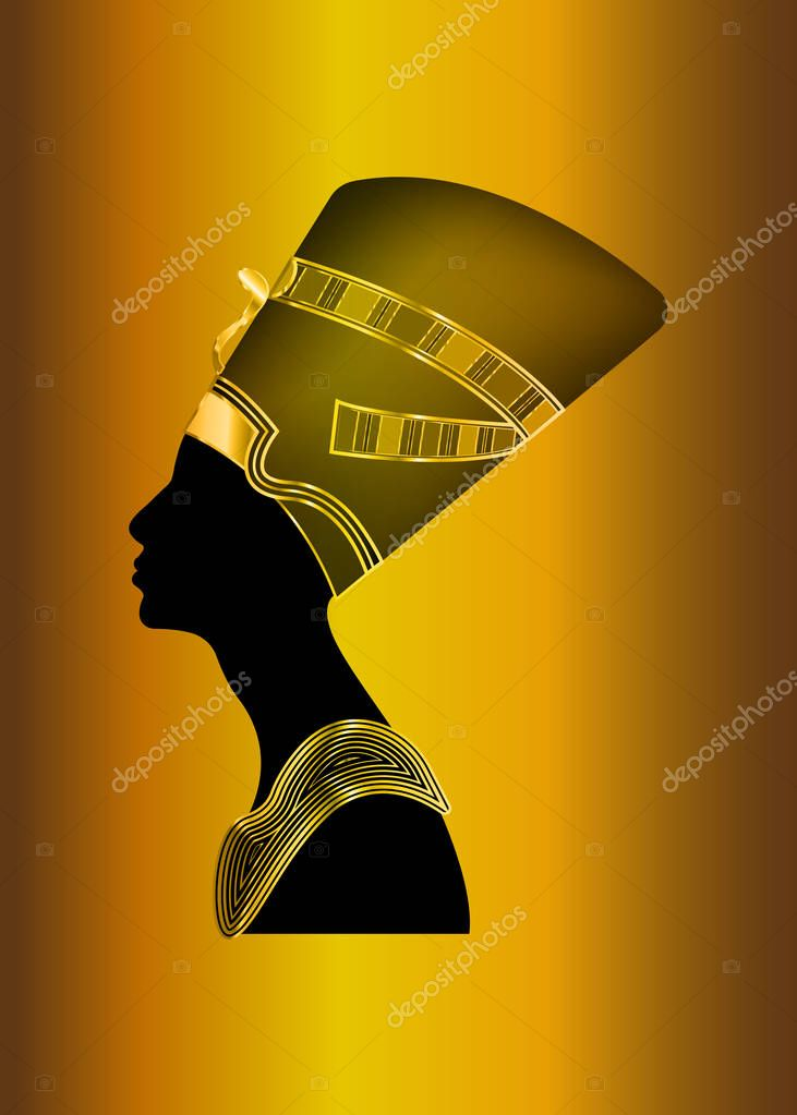 Egyptian silhouette icon. Queen Nefertiti. Vector portrait Profile with gold jewels and precious stones, isolated on golden background.