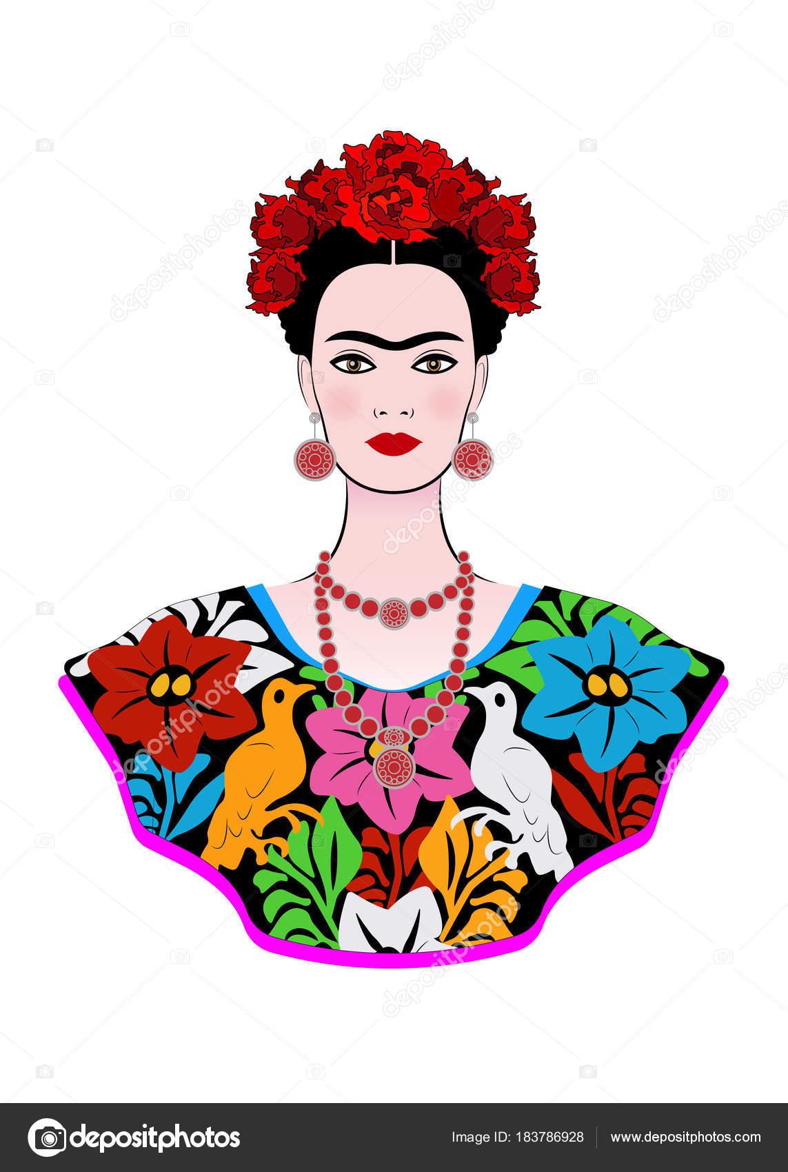 Vector frida kahlo retrato de frida kahlo vector joven for Cuartos decorados de frida kahlo