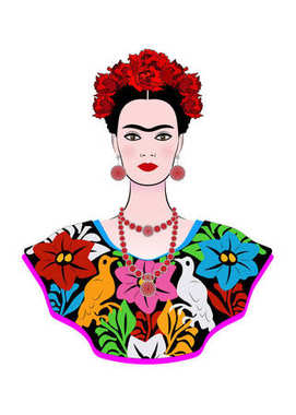 Frida Kahlo vector portrait , young beautiful mexican woman with a traditional hairstyle,  Mexican crafts jewelry and dress, vector isolated