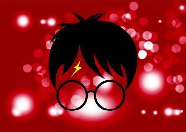 Potter cartoon icon of a wizard boy with glasses, vector isolated or red  Blurry background circles