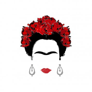 Frida Kahlo, vector portrait isolated, drawing style