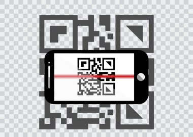 smart phone icon with sample Bar Codes For Scanning Icon with red laser, Vector Illustration isolated