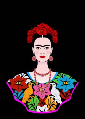 Frida Kahlo vector portrait , young beautiful mexican woman with a traditional hairstyle,  Mexican crafts jewelry and dress, vector isolated or black background